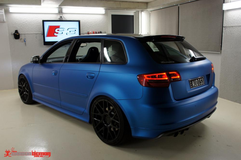 Audi S3 Matte Blue Vinyl Wrap (1)