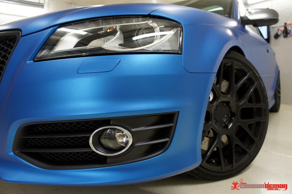 Audi S3 Matte Blue Vinyl Wrap (2)