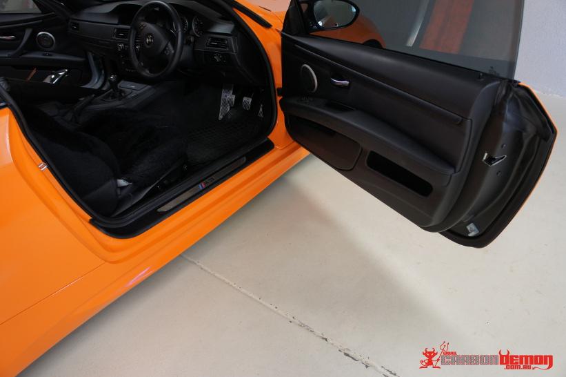 M3 Orange Vinyl Wrap - door jamb