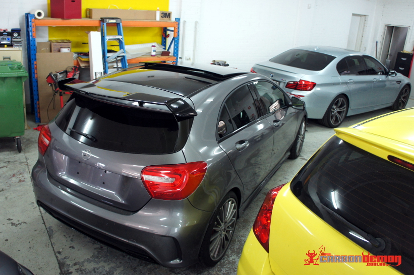 AMG A45 gloss black roof vinyl wrap