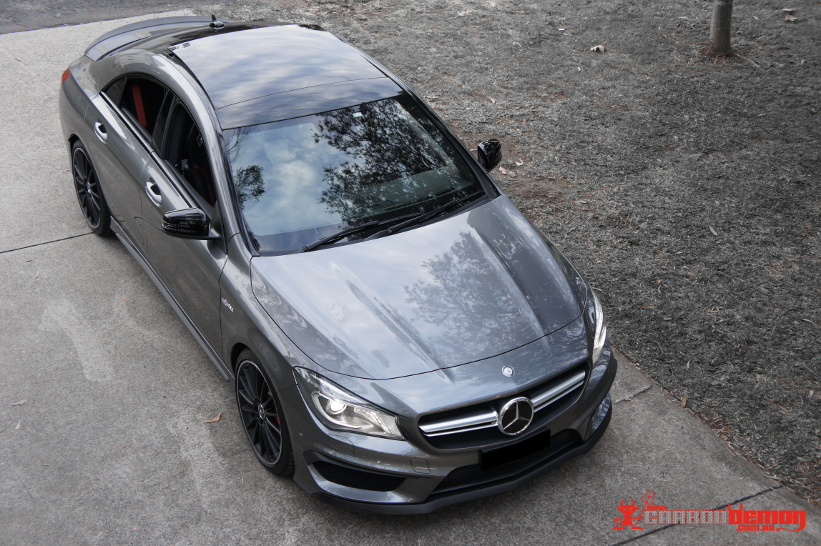 AMG CLA45 Gloss black roof vinyl wrap