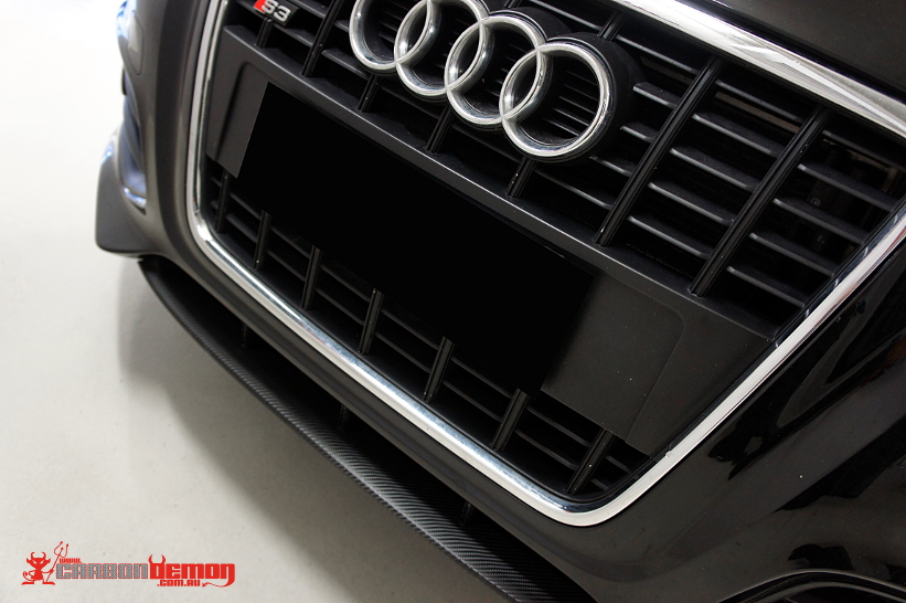 Audi S3 carbon fibre front lip vinyl wrap