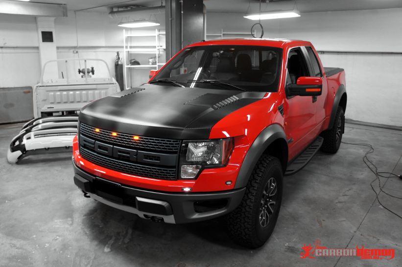 Ford F150 carbon fibre bonnet vinyl wrap