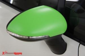 KIA Rio matte green vinyl wrap mirrors