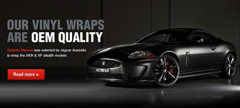Matte black Jaguar vinyl wrap by Carbon Demon Sydney