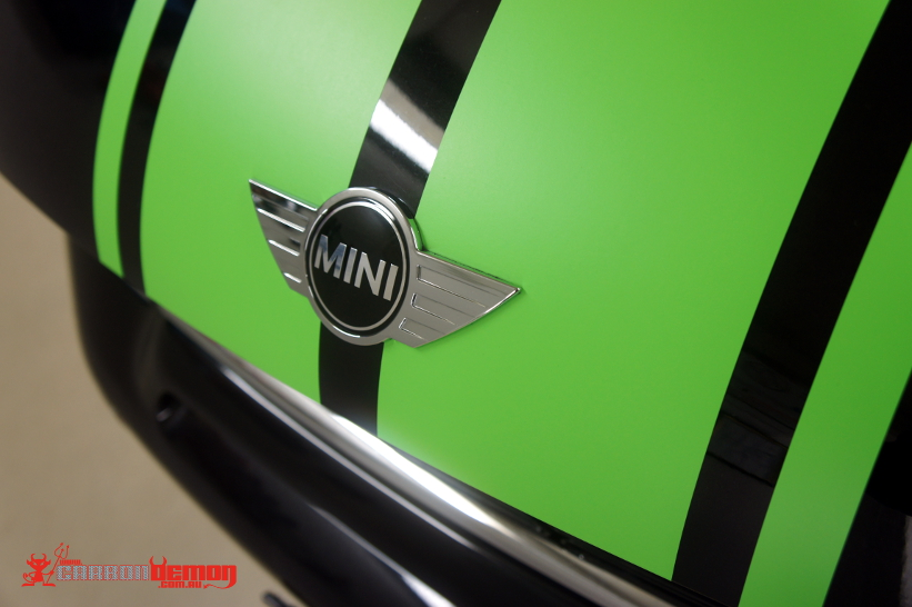 Matte green stripes on Mini Cooper