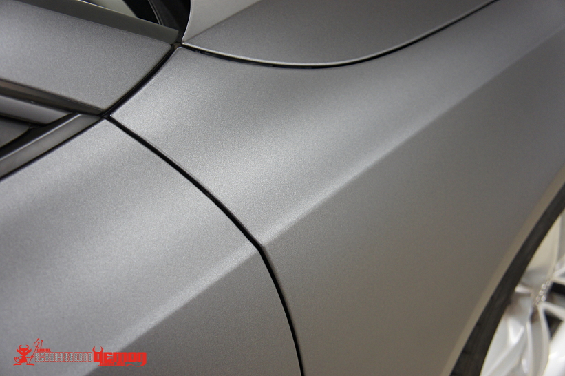 Matte dark grey metallic vinyl wrap by Carbon Demon