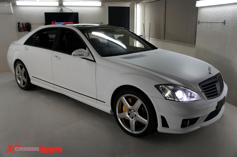 Mercedes-Benz S65 matte white vinyl wrap
