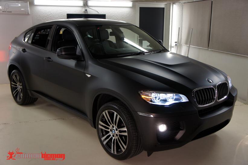 BMW X6 matte black vinyl wrap