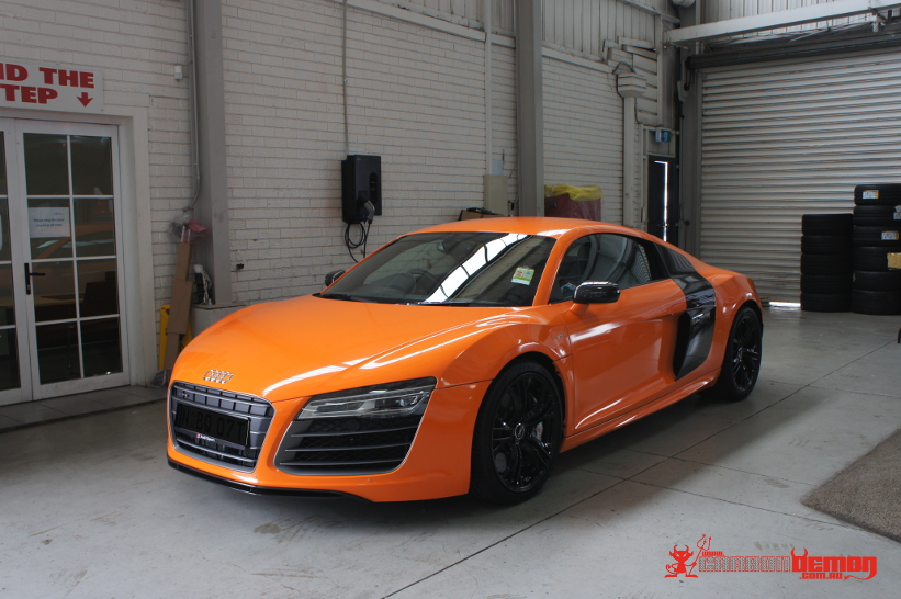 Audi Australia R8 Advertisement Campaign Vehicle Wrapped In Gloss Orange Vinyl Wrap