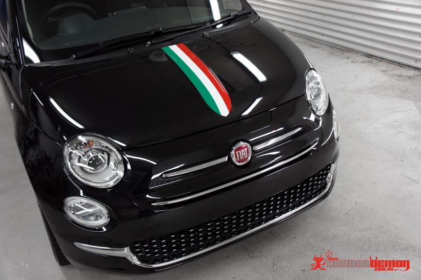 Fiat 500 Abarth Vinyl Stripes Carbon Demon Sydney