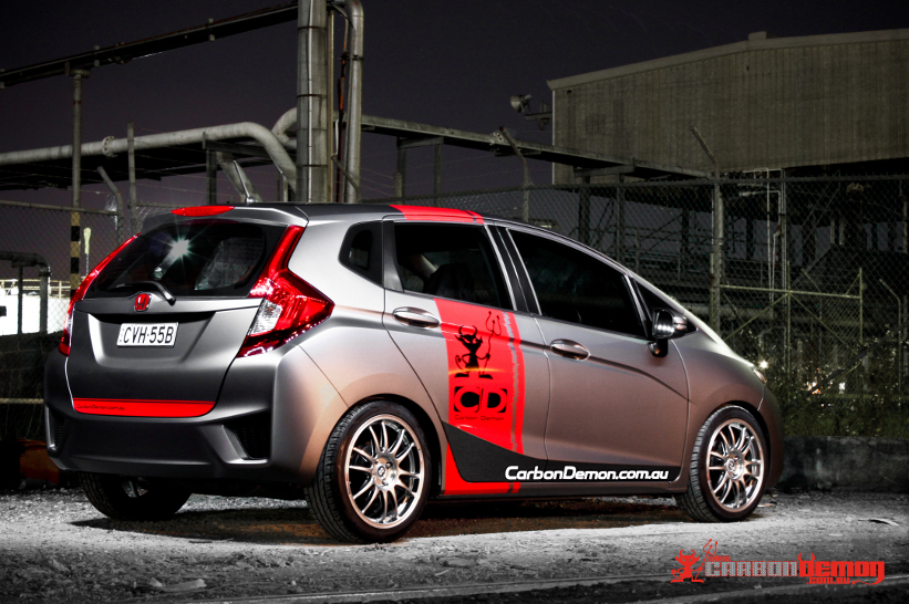 Honda Jazz modified with matte vinyl wrap - Carbon Demon (2)