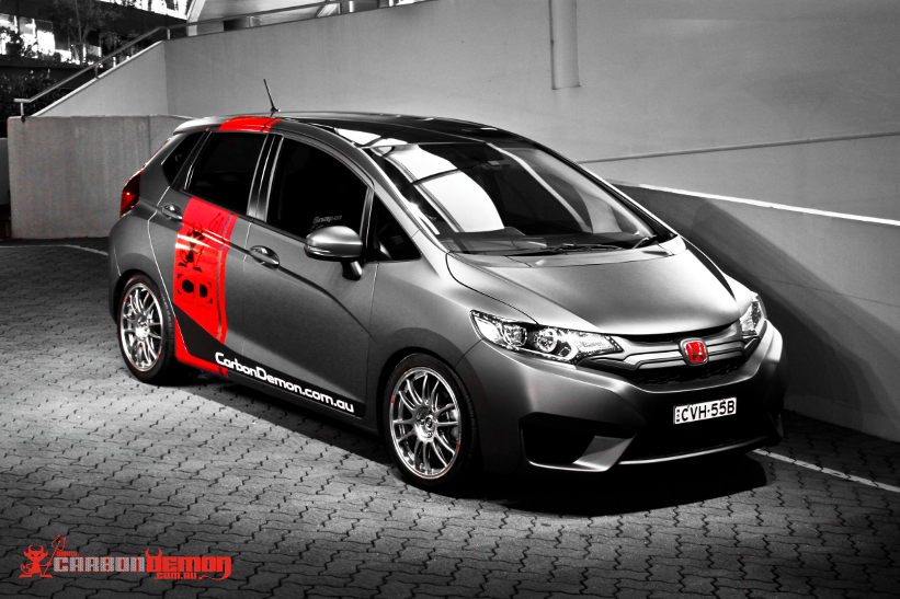 Honda Jazz modified with matte vinyl wrap - Carbon Demon (4)