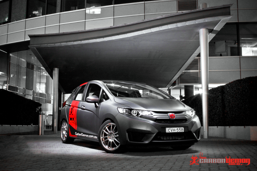 Honda Jazz modified with matte vinyl wrap - Carbon Demon (5)