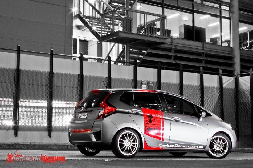 Honda Jazz modified with matte vinyl wrap - Carbon Demon (6)