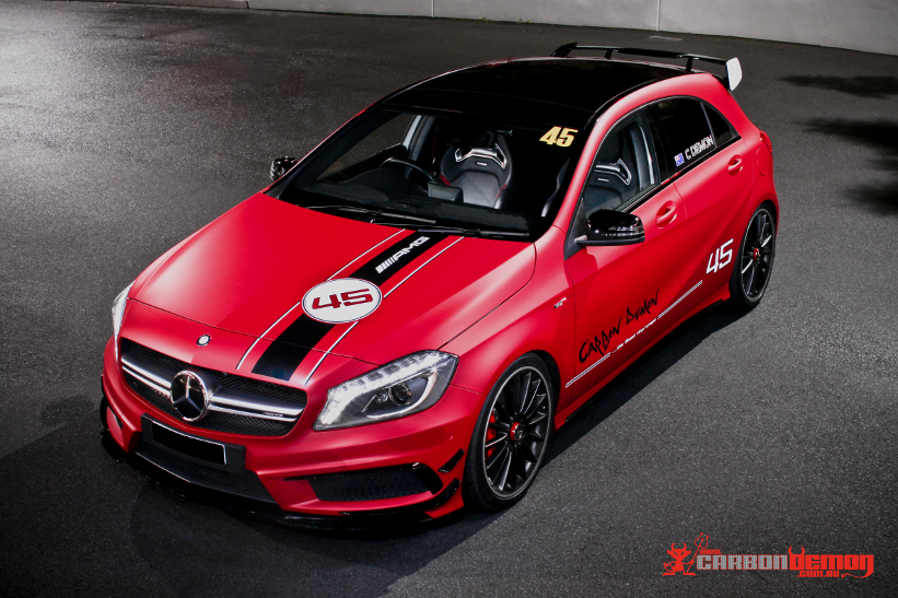 Car Wrap Vinyl >> AMG A45 Metallic Matte Red Carbon Demon Vinyl Wrap Sydney
