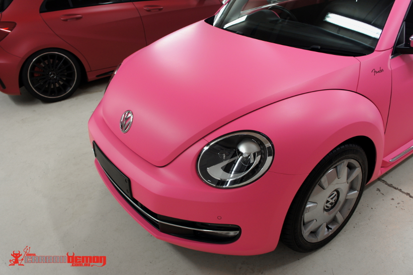 Vw Beetle Matte Pink Vinyl Wrap Carbon Demon