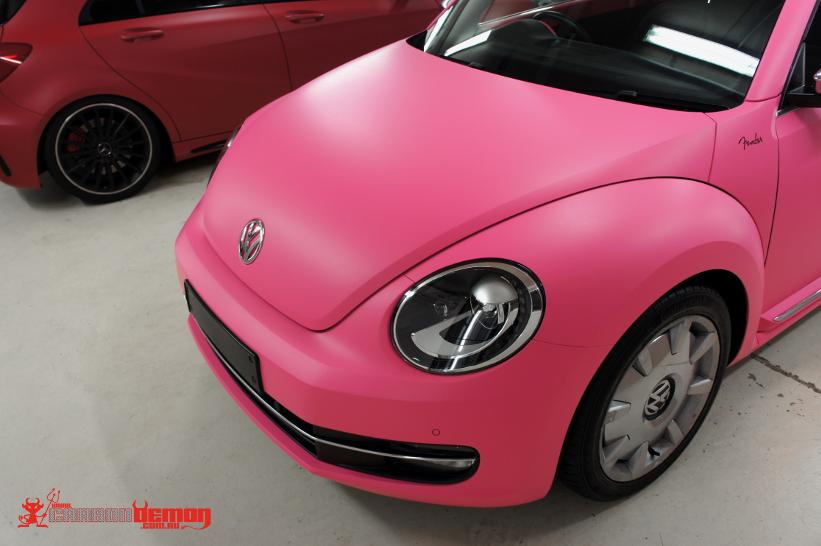 vw beetle matte pink vinyl wrap. Black Bedroom Furniture Sets. Home Design Ideas